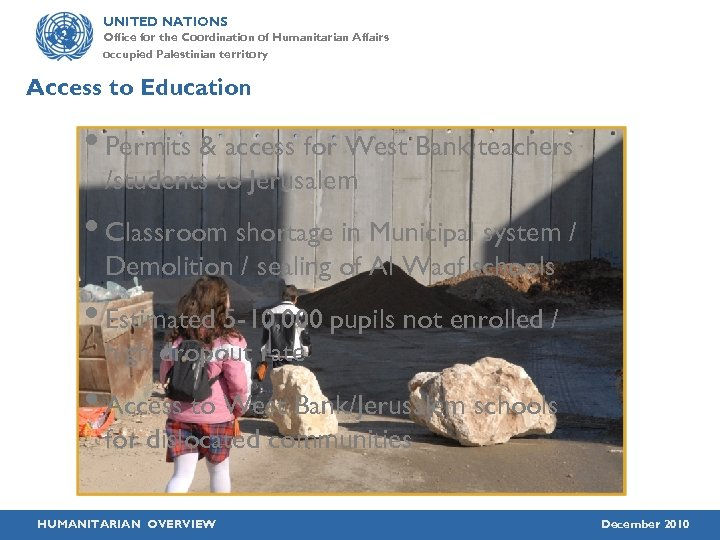 UNITED NATIONS Office for the Coordination of Humanitarian Affairs occupied Palestinian territory Access to