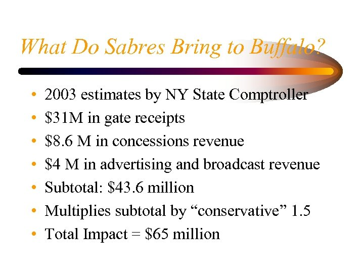 What Do Sabres Bring to Buffalo? • • 2003 estimates by NY State Comptroller