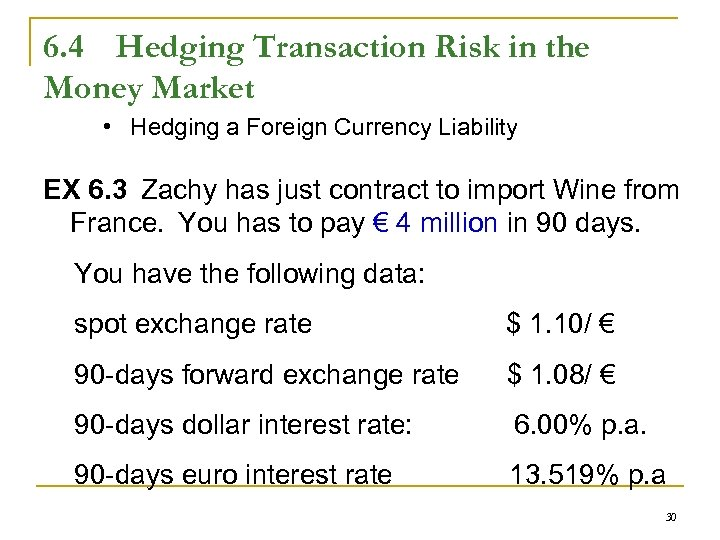 6. 4 Hedging Transaction Risk in the Money Market • Hedging a Foreign Currency
