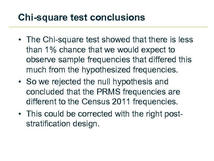 Chi-square test conclusions • The Chi-square test showed that there is less than 1%