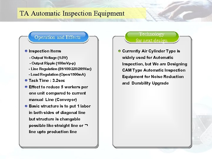 TA Automatic Inspection Equipment Operation and Effects Technology for next design Inspection Items Currently