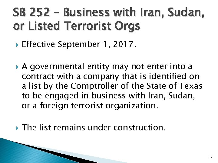 SB 252 – Business with Iran, Sudan, or Listed Terrorist Orgs Effective September 1,