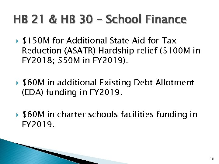 HB 21 & HB 30 – School Finance $150 M for Additional State Aid