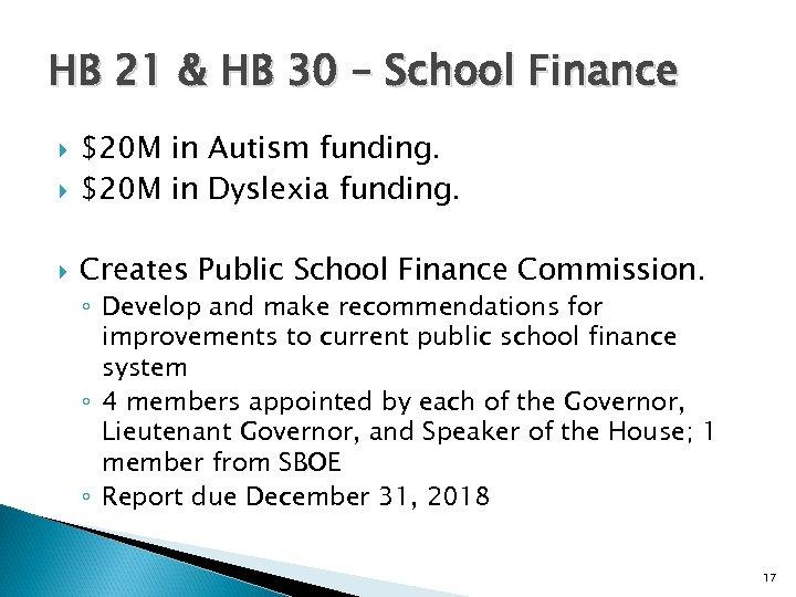 HB 21 & HB 30 – School Finance $20 M in Autism funding. $20