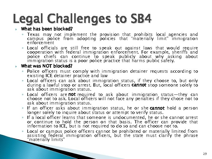 Legal Challenges to SB 4 What has been blocked? ◦ Texas may not implement