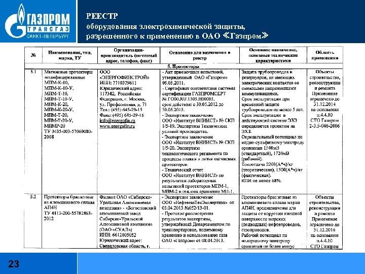 РЕЕСТР оборудования электрохимической защиты, разрешенного к применению в ОАО ≪Газпром≫ 23