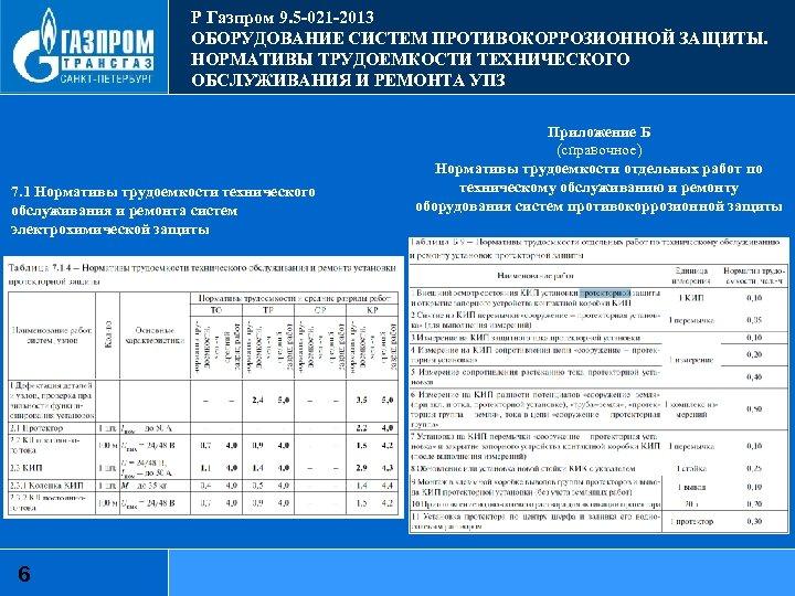 Р Газпром 9. 5 -021 -2013 ОБОРУДОВАНИЕ СИСТЕМ ПРОТИВОКОРРОЗИОННОЙ ЗАЩИТЫ. НОРМАТИВЫ ТРУДОЕМКОСТИ ТЕХНИЧЕСКОГО ОБСЛУЖИВАНИЯ