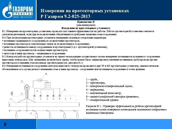 Измерения на протекторных установках Р Газпром 9. 2 -025 -2013 Приложение Е (рекомендуемое) Измерения