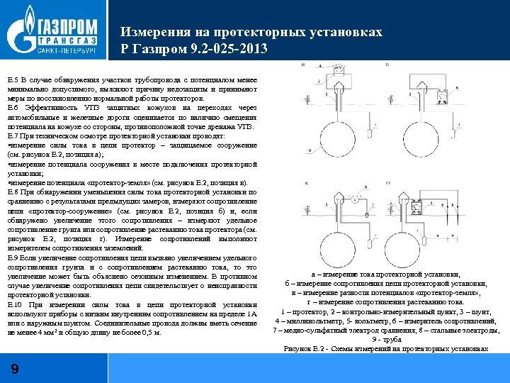 Измерения на протекторных установках Р Газпром 9. 2 -025 -2013 Е. 5 В случае