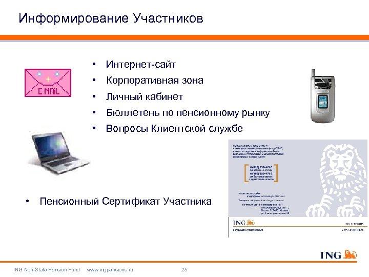 Информирование Участников • Интернет-сайт • Корпоративная зона • Личный кабинет • Бюллетень по пенсионному