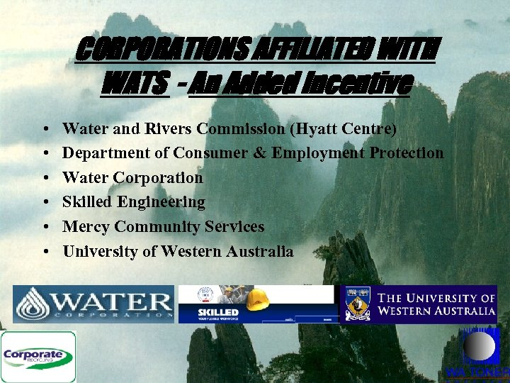 CORPORATIONS AFFILIATED WITH WATS - An Added Incentive • • • Water and Rivers