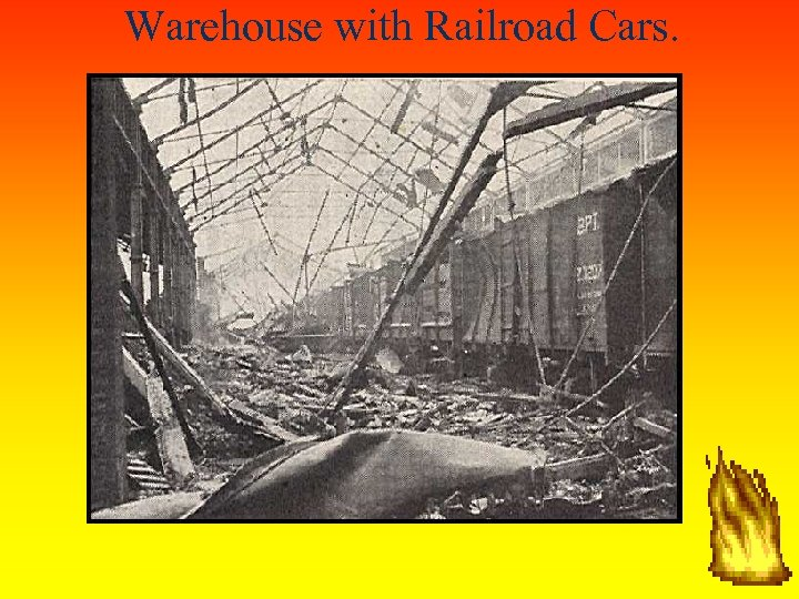 Warehouse with Railroad Cars.