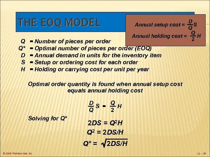 THE EOQ MODEL Q Q* D S H D S Q Q Annual holding
