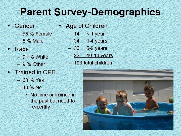 Parent Survey-Demographics • Gender – 95 % Female – 5 % Male • Race