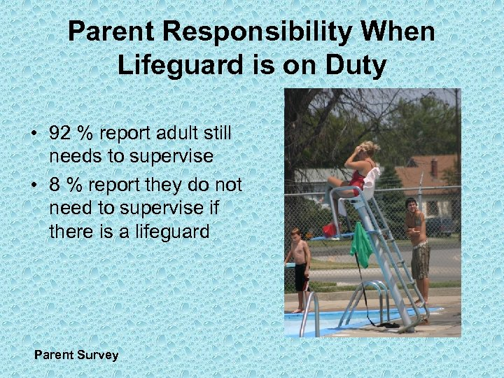 Parent Responsibility When Lifeguard is on Duty • 92 % report adult still needs