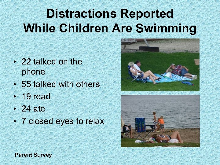 Distractions Reported While Children Are Swimming • 22 talked on the phone • 55