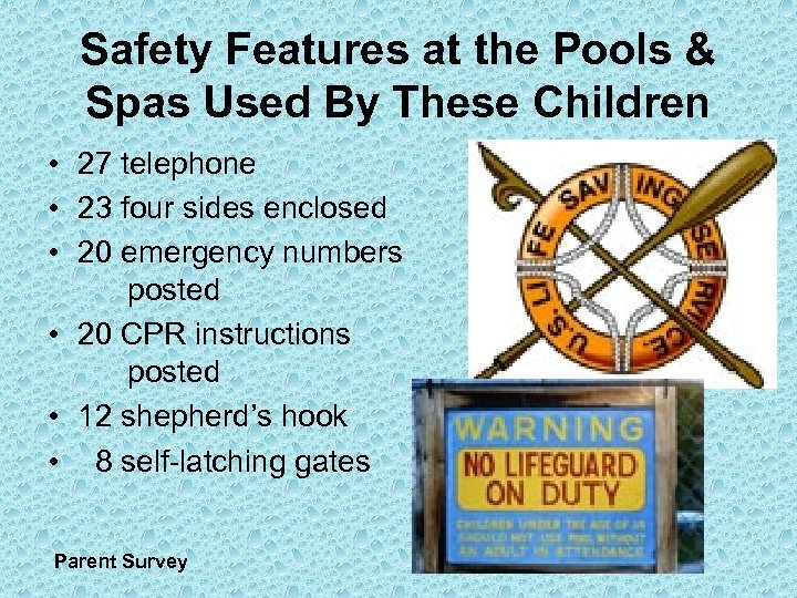 Safety Features at the Pools & Spas Used By These Children • 27 telephone