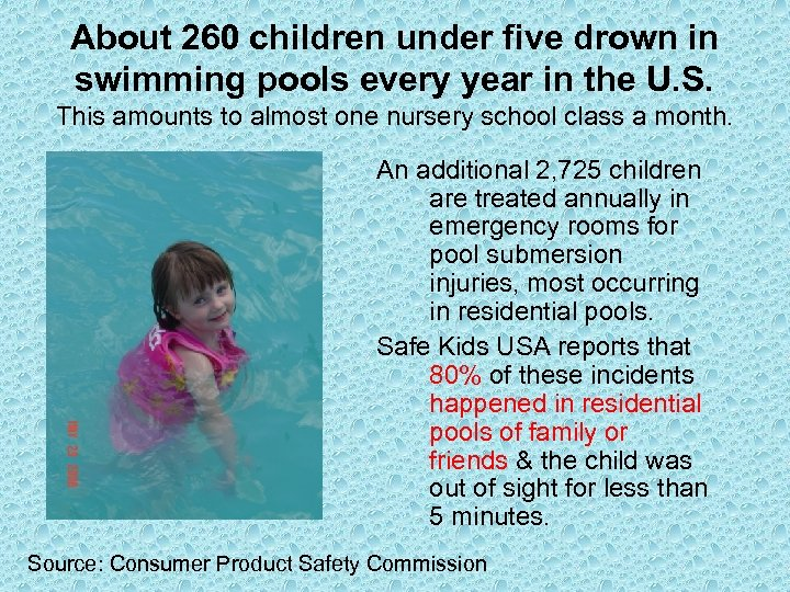 About 260 children under five drown in swimming pools every year in the U.