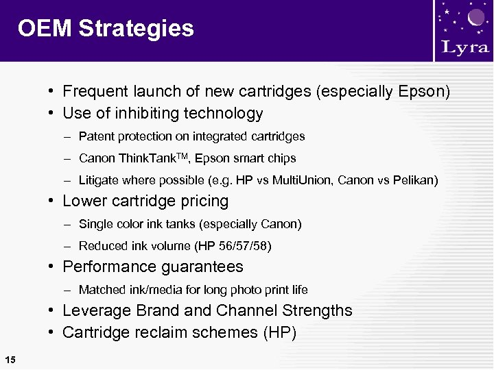 OEM Strategies • Frequent launch of new cartridges (especially Epson) • Use of inhibiting