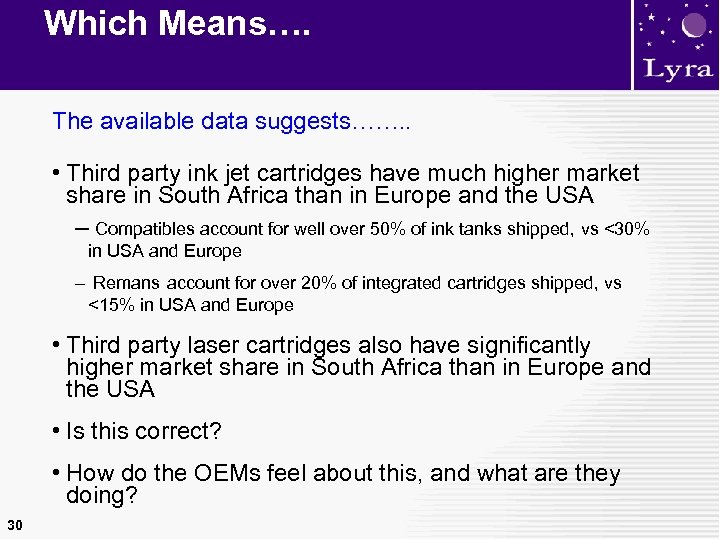 Which Means…. The available data suggests……. . • Third party ink jet cartridges have