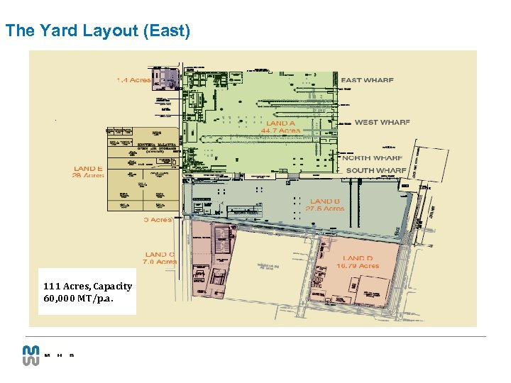 The Yard Layout (East) 111 Acres, Capacity 60, 000 MT/p. a.