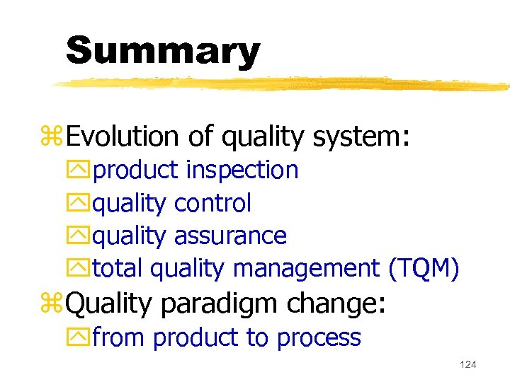 Summary z. Evolution of quality system: yproduct inspection yquality control yquality assurance ytotal quality