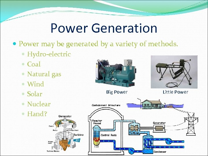 Power Generation Power may be generated by a variety of methods. Hydro-electric Coal Natural