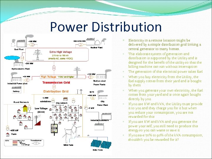Power Distribution Electricity in a remote location might be delivered by a simple distribution