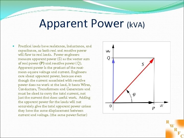 Apparent Power (k. VA) Practical loads have resistance, inductance, and capacitance, so both real