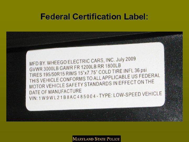 Federal Certification Label: