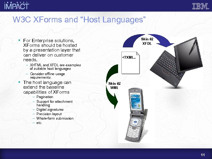 """W 3 C XForms and """"Host Languages"""" Skin #2 XFDL § For Enterprise solutions,"""