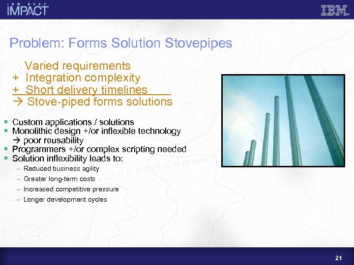 Problem: Forms Solution Stovepipes Varied requirements + Integration complexity + Short delivery timelines Stove-piped