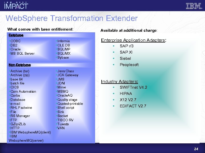 Web. Sphere Transformation Extender What comes with base entitlement: Available at additional charge: Database