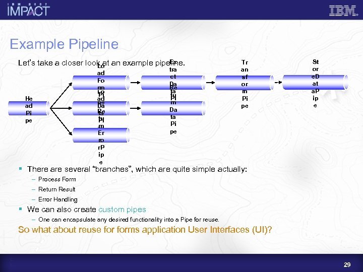 Example Pipeline Ex Let's take a closer look at an example pipeline. Lo He