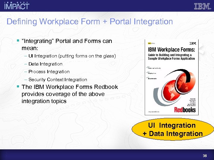 """Defining Workplace Form + Portal Integration § """"Integrating"""" Portal and Forms can mean: –"""