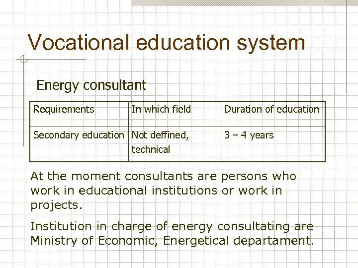 Vocational education system Energy consultant Requirements In which field Secondary education Not deffined, technical
