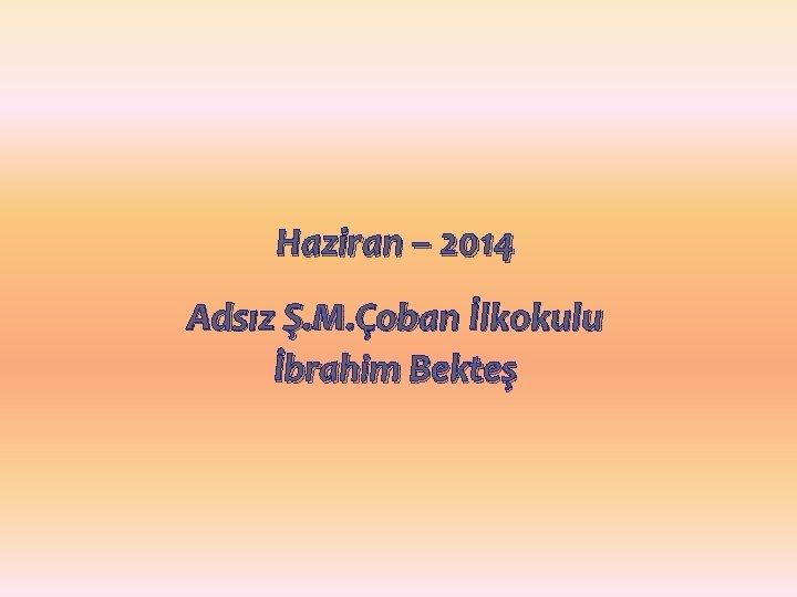 Haziran – 2014 Adsız Ş. M. Çoban İlkokulu İbrahim Bekteş