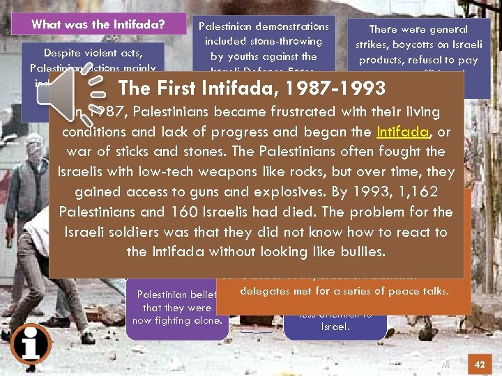 What was the Intifada? What caused the Intifada? Palestinian demonstrations included stone-throwing Israeli presence