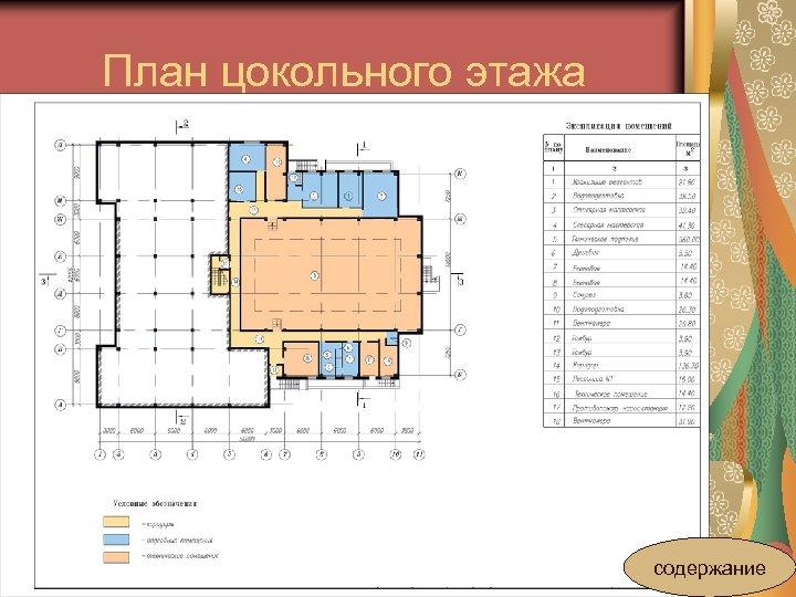 План цокольного этажа содержание