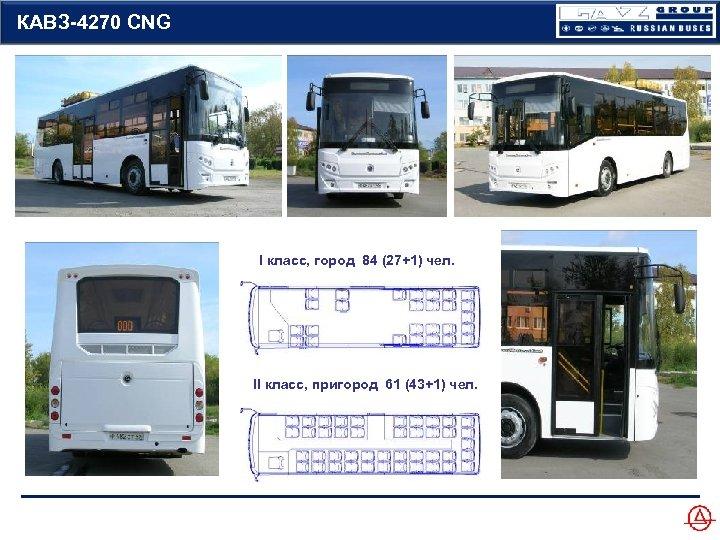 КАВЗ-4270 CNG I класс, город 84 (27+1) чел. II класс, пригород 61 (43+1) чел.