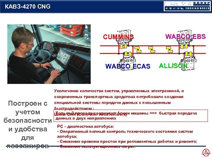КАВЗ-4270 CNG CUMMINS WABCO ECAS Построен с учетом безопасности и удобства для пассажиров WABCO