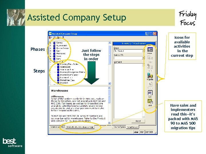 Assisted Company Setup Phases Just follow the steps in order Icons for available activities