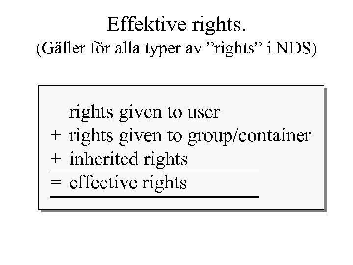 """Effektive rights. (Gäller för alla typer av """"rights"""" i NDS) rights given to user"""