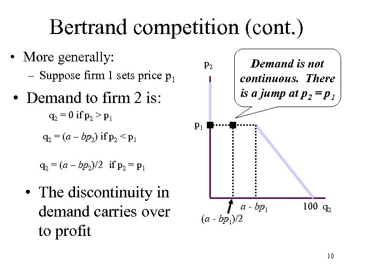 Bertrand competition (cont. ) • More generally: p 2 – Suppose firm 1 sets