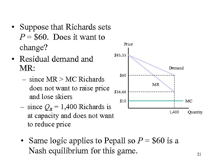 • Suppose that Richards sets P = $60. Does it want to change?