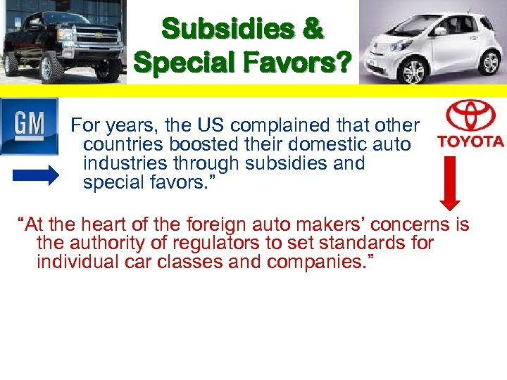 "Subsidies & Special Favors? ""For years, the US complained that other countries boosted their"