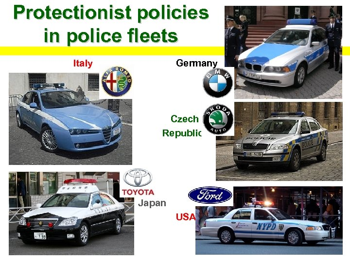 Protectionist policies in police fleets Italy Germany Czech Republic Japan USA
