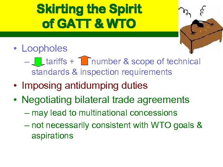 Skirting the Spirit of GATT & WTO • Loopholes – tariffs + number &