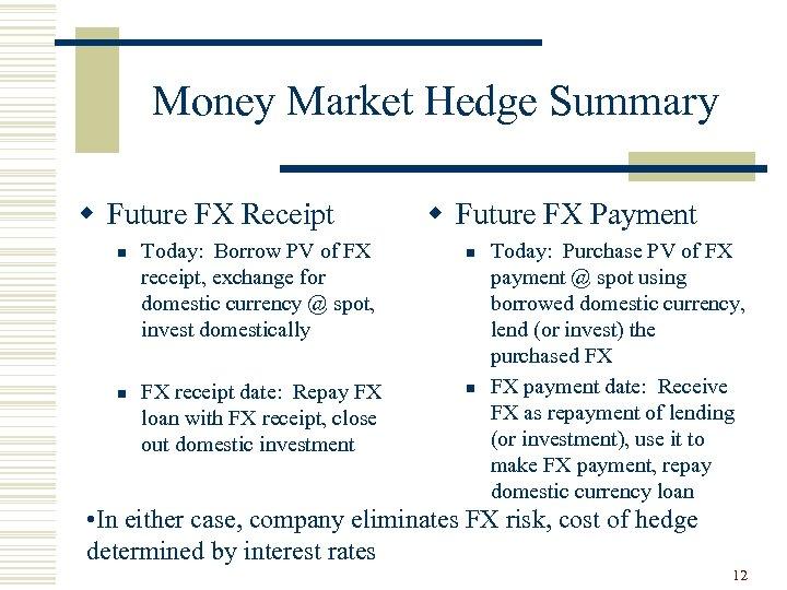 Money Market Hedge Summary w Future FX Receipt n n Today: Borrow PV of