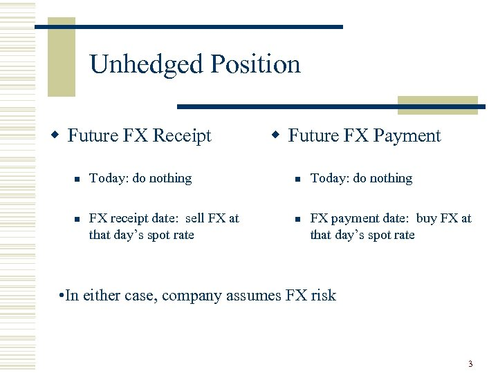 Unhedged Position w Future FX Receipt n n Today: do nothing FX receipt date: